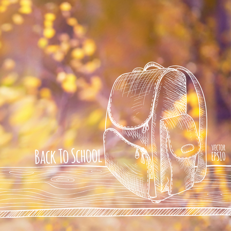 photography backdrop: Vector illustration. Blurred photo background, autumn nature. Sketch - a wooden board with a school bag. Back to school. Illustration