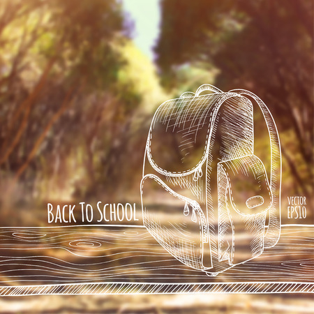 Vector illustration. Blurred photo background, autumn nature. Sketch - a wooden board with a school bag. Back to school. Illustration