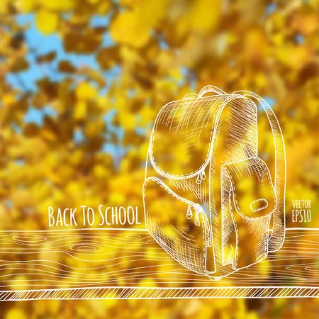 Ilustración vectorial Fondo borroso de la foto, naturaleza del otoño. Boceto: una tabla de madera con una mochila escolar. De vuelta a la escuela. Foto de archivo - 82959308