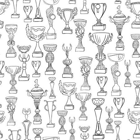 Ilustración del vector. Bosquejo. Ganador de la Copa Foto de archivo - 88359726