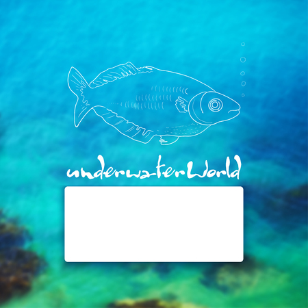 Vector illustration. Blurred background photo. Seabed with sketch - fish, and place for text Foto de archivo