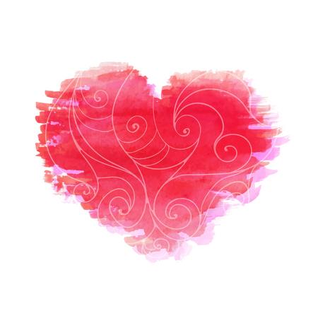 Ilustración del vector. Corazón rojo de la acuarela Foto de archivo - 83125193