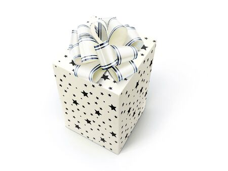 Gift - box with bow on white Stock Photo