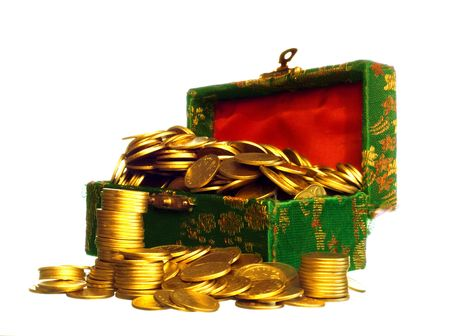 tough luck: Riches, gold coins in a chest on white