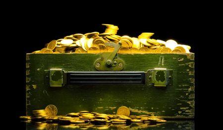goldy: Ricchezze, monete d'oro in un isolato a petto nero