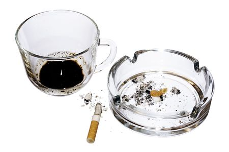 Coffee and Cigarettes isolated on white photo