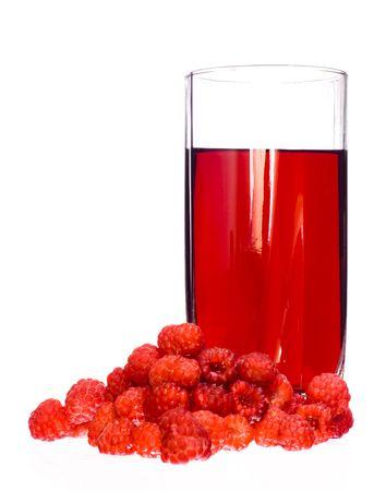 Heap of Raspberries and juice photo