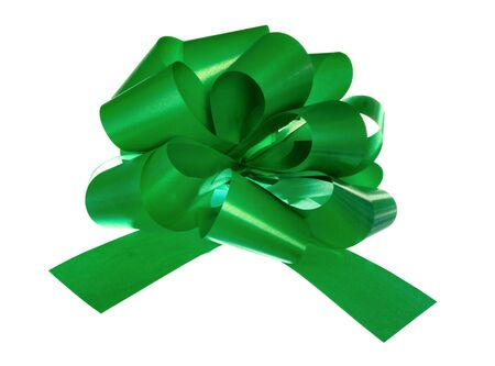green bow isolated on white background Stock Photo - 3347659