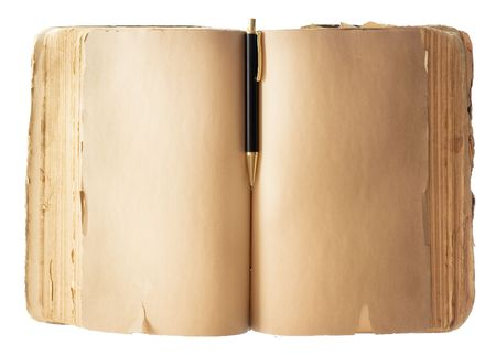 encyclopedias: Blank old Book with pen isolated on white background