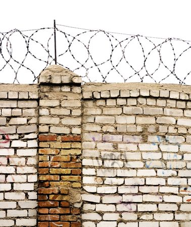 barbed wire wall isolated on white Stock Photo - 3458837