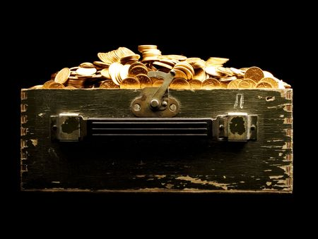 vintage chest full of gold  photo