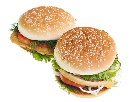Cheeseburgers isolated on white background photo