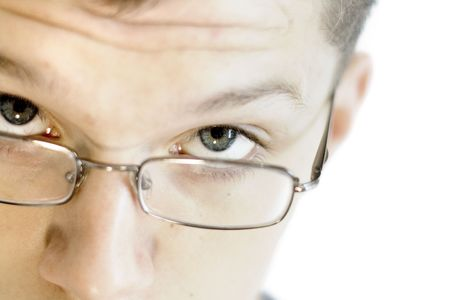 sceptical:   man in glasses Stock Photo
