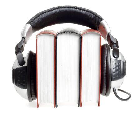 audio book: headphones and books (audio book concept)