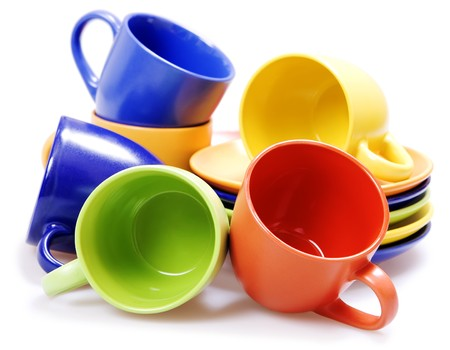 Color cups isolated on white. photo