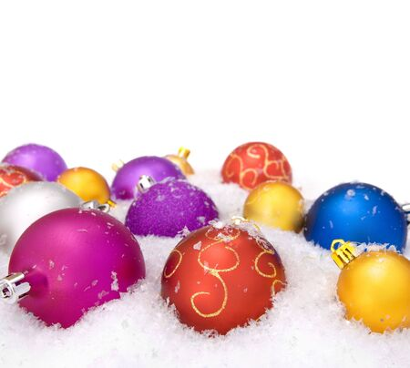 decorative christmas balls with snow photo