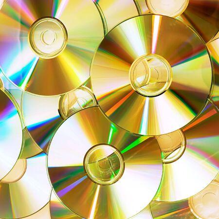 dvds: heap of dvd, cd disks Stock Photo