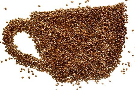 Coffee Beans (like a coffee mug) isolated on white. Stock Photo - 5375703