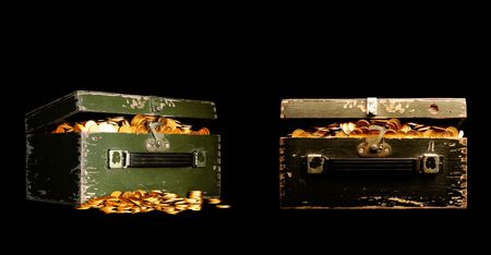 tough luck: chest full of money on black Stock Photo