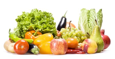 fruit and vegetables: Healthy Eating, isolated on white background. Stock Photo