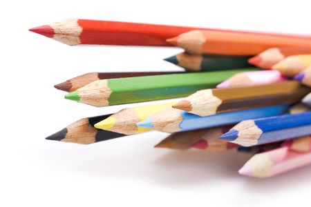 color pencils isolated on white Stock Photo