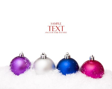 christmas balls with snow, isolated on white background Stock Photo - 5388877