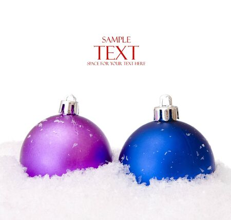 christmas balls with snow, isolated on white background Stock Photo - 5388862