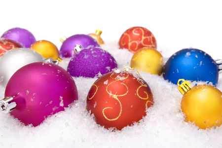 christmas balls with snow, isolated on white background Stock Photo - 5388826