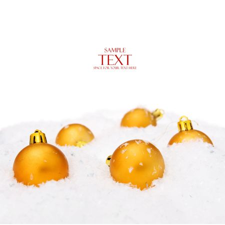 christmas balls with snow, isolated on white background Stock Photo - 5389003