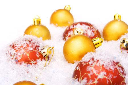 christmas balls with snow, isolated on white background Stock Photo - 5388803