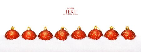 christmas balls with snow, isolated on white background Stock Photo - 5388991