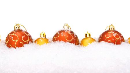 christmas balls with snow, isolated on white background photo