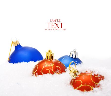 christmas balls with snow, isolated on white background Stock Photo - 5389028