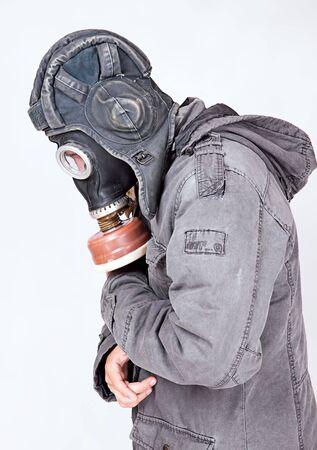 biological: man wearing a gas mask Stock Photo