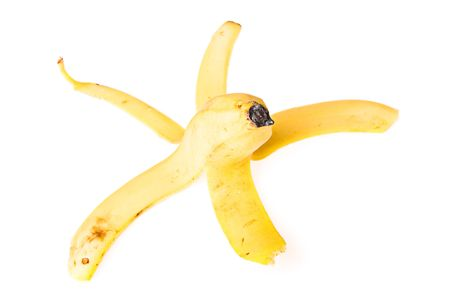 Peel of banana on white background. photo