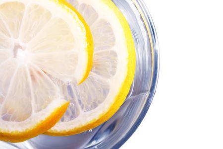 gauzy: glass full of drink with lemon Stock Photo