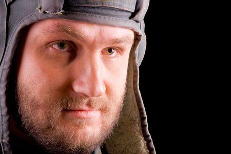 scheming: portrait of cool bearded man in helmet Stock Photo