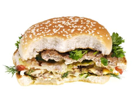 Cheeseburger isolated on white background. photo