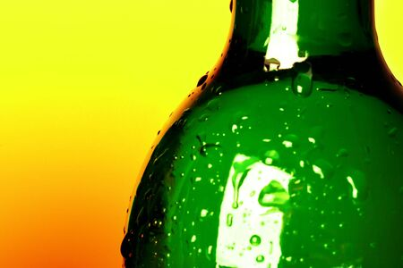 water drops on bottle  photo