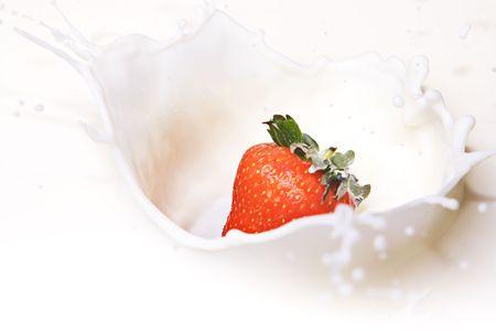 eating yogurt: Strawberry and Cream