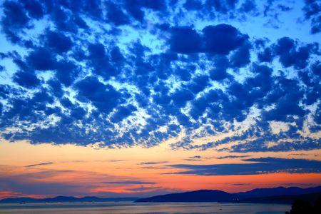 beautiful sky above the sea Stock Photo