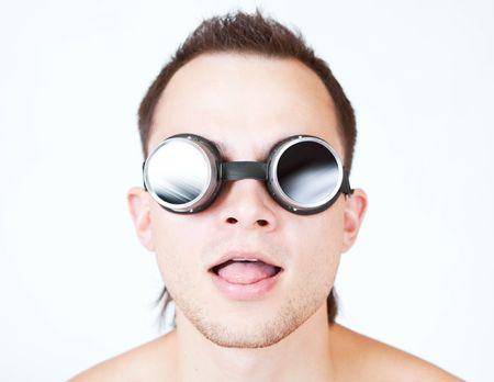 psychonaut, portrait of man in stylish glasses photo