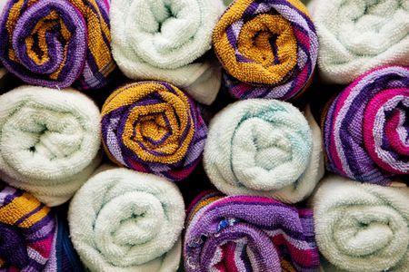 Color towels rolls close-up.