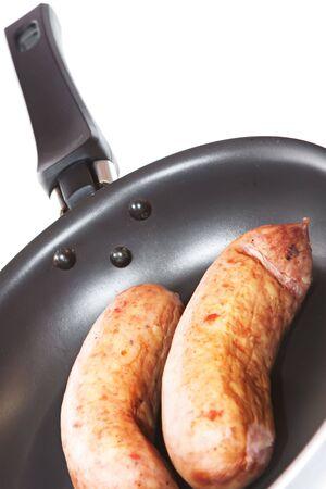 Sausage on white background. photo