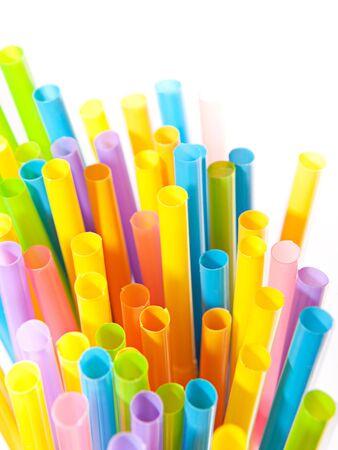 Drinking straws isolated on white background. photo