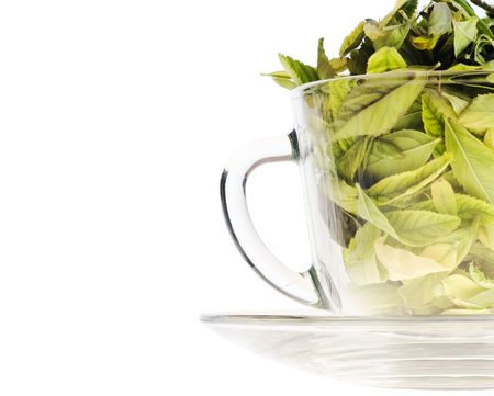 Leaves in cup.