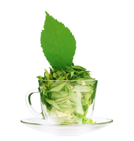 green tea cup: Leaves in cup.