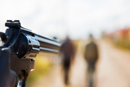 you with a gun aiming to people Stock Photo - 7270823