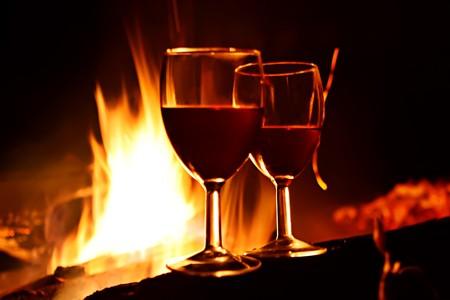 burns night: Night romance. Vine against fire.
