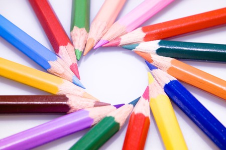circle of bright color pencils photo